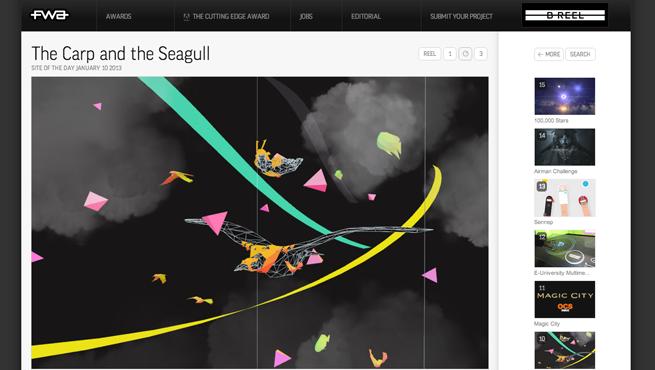 THE FWAのギャラリーサイトのトップページ画像