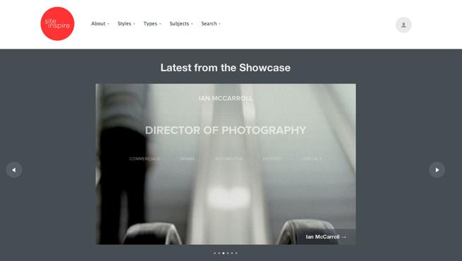 site inspireのギャラリーサイトのトップページ画像