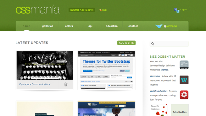 CSS maniaのギャラリーサイトのトップページ画像