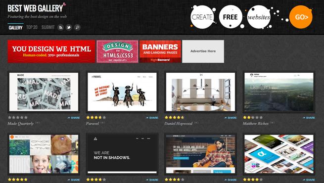 BEST WEB GALLERYのギャラリーサイトのトップページ画像