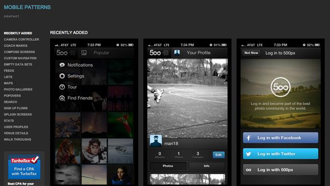 MOBILE PATTERNSのギャラリーサイトのトップページ画像