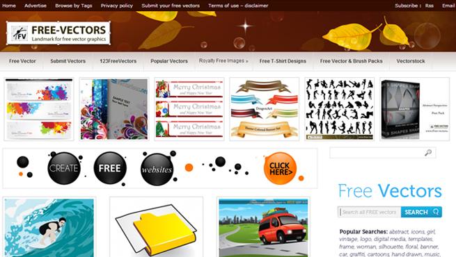 「123 Free Vectors」のトップページの画像