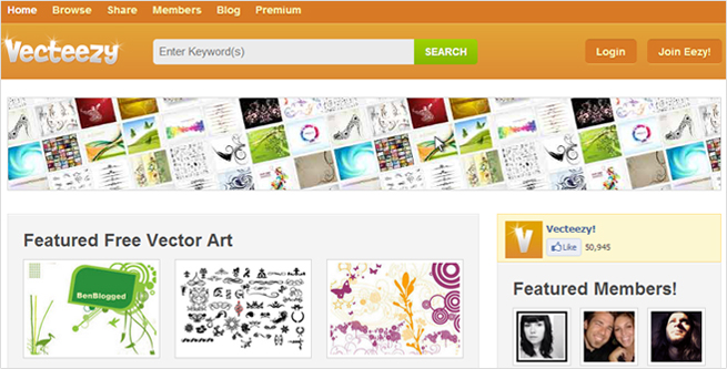 「Vecteezy!」のトップページの画像