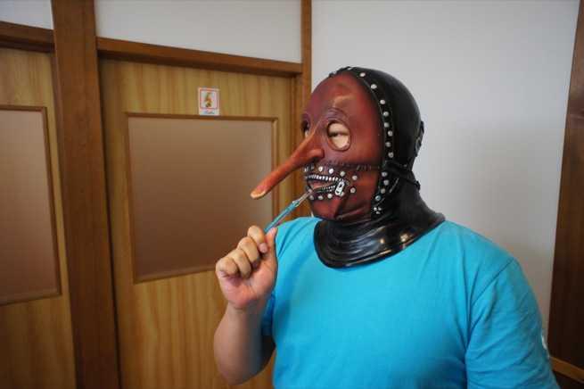 マスクのまま寝たの?