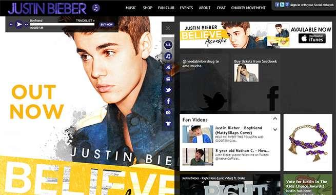 ジャスティンビーバー 公式サイト