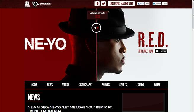 Ne-Yo 公式サイト