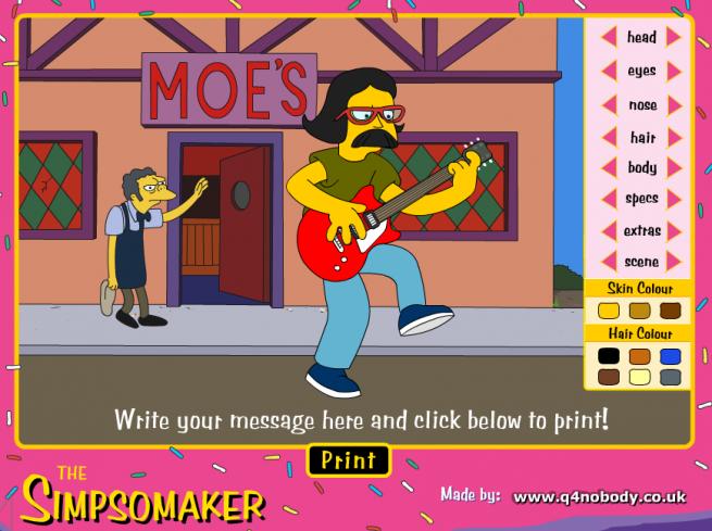 アニメ「The Simpsons」のキャラクター風のアイコンを作成できるTHE SIMPSOMAKERの画像