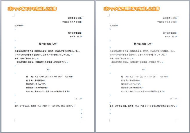 ゴシック体のみで作成した文書とゴシック体と明朝体で作成した文書を比較した画像