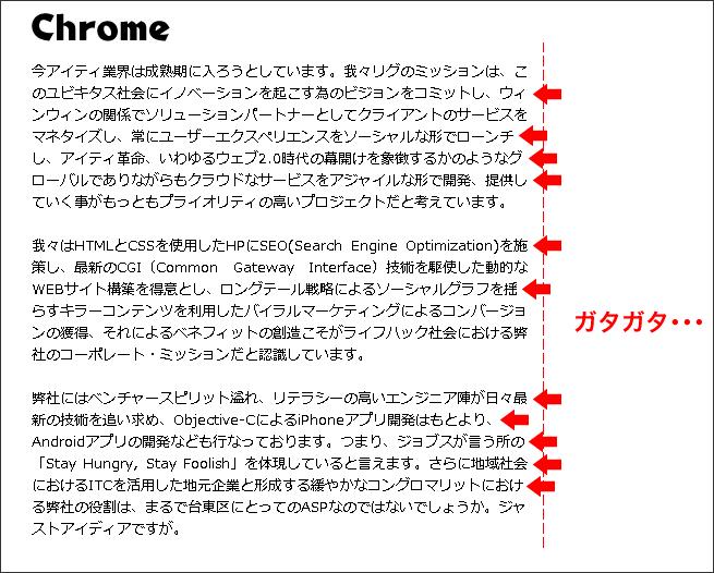 Chromeの両端揃え