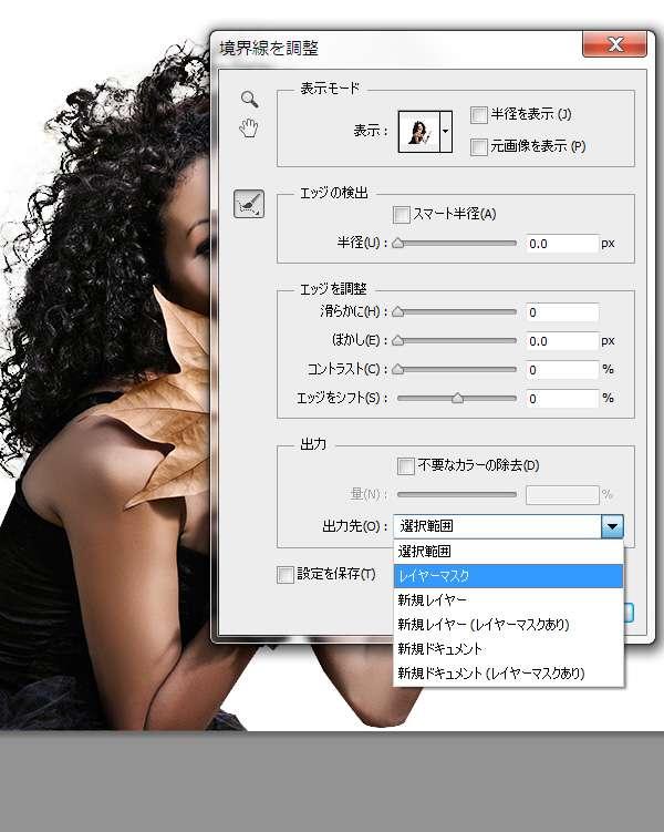 「Photoshop」の「境界線を調整」ツールで「出力先」を「レイヤーマスク」に選択しているところ