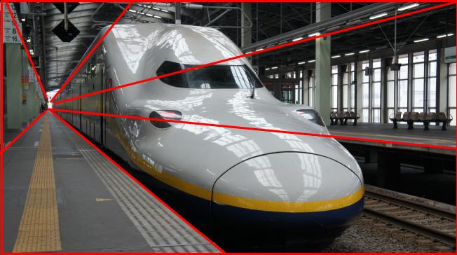 新幹線の写真を「放射構図のイメージ」と重ね合わせて解説している画像