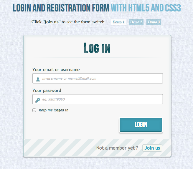 Login and Registration Form with HTML5 and CSS3