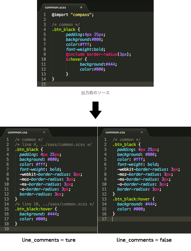 CSSファイルにlineコメントをつける