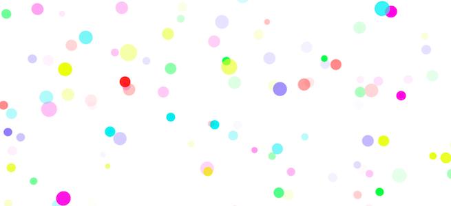 「MotionElements」のイメージ画像・白背景にカラフルな水玉模様