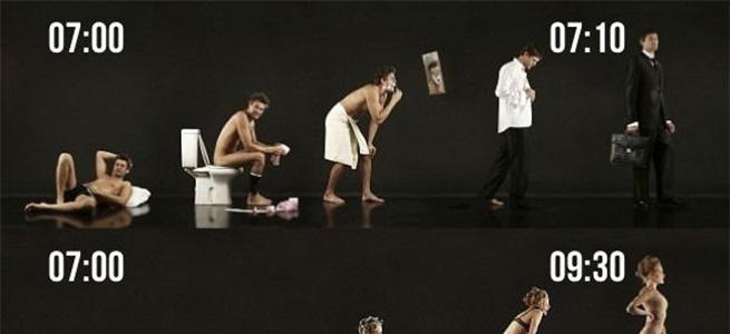 男性と女性の朝の身支度時間