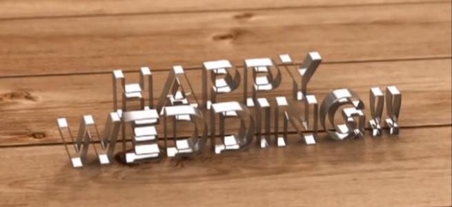 「Lab01」のイメージ画像・「HAPPY WEDDING!!」の文字をかたどったオブジェの写真