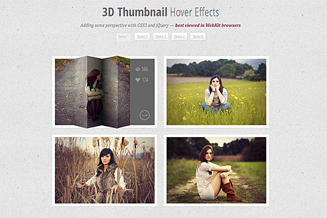 3D Thumbnail Hover Effects