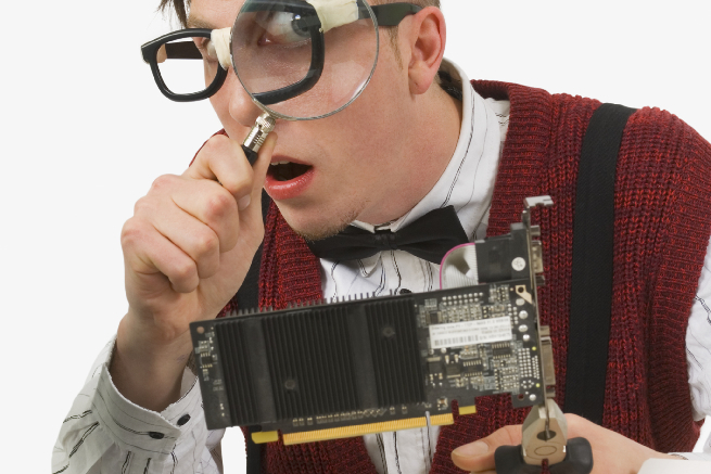 Computer technician fixing computer
