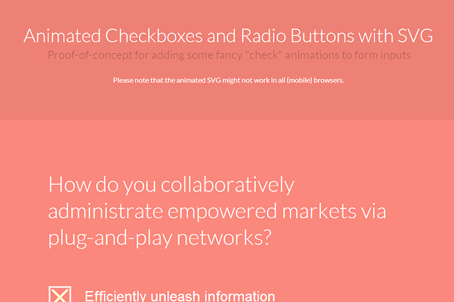 ANIMATED CHECKBOXES AND RADIO BUTTONS WITH SVG