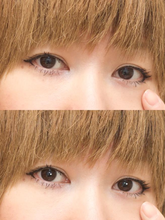 アイキャッチなしの場合の瞳の写真とアイキャッチありの場合の瞳の写真を比較した画像