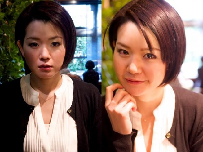 F値を11で撮った女性の写真とF値を4で撮った女性の写真を比較した画像