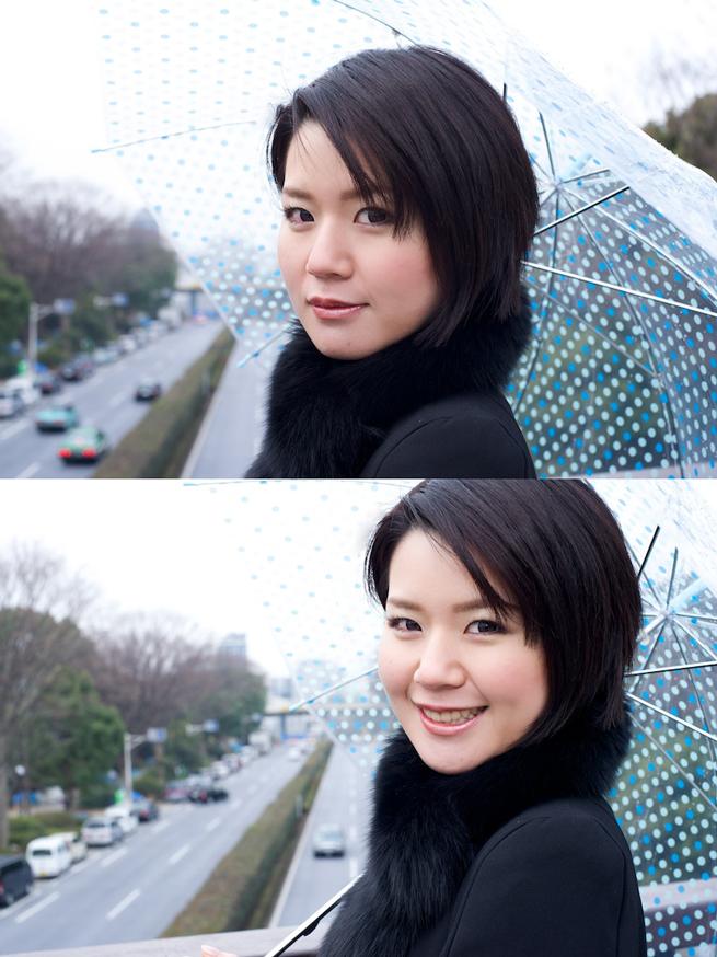 普通の人物写真と「頭をちょっと切る」構図で撮影した人物写真を比較した画像