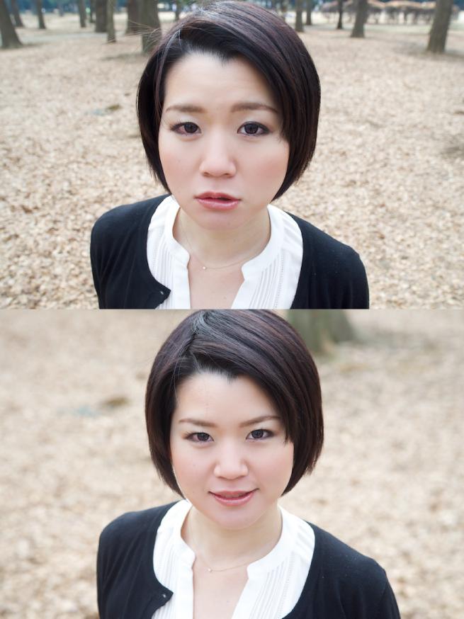 24mmで撮った顔写真と70mmで撮った顔写真を比較した画像