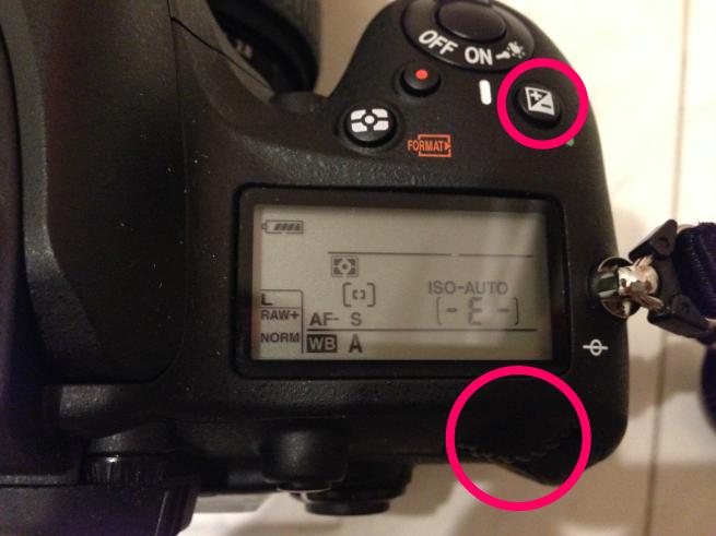 Nikon D600で露光補正をする際の手順を示した画像