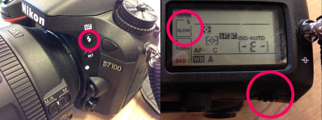 Nikon D7100でフラッシュの設定を変更するための手順を示した写真