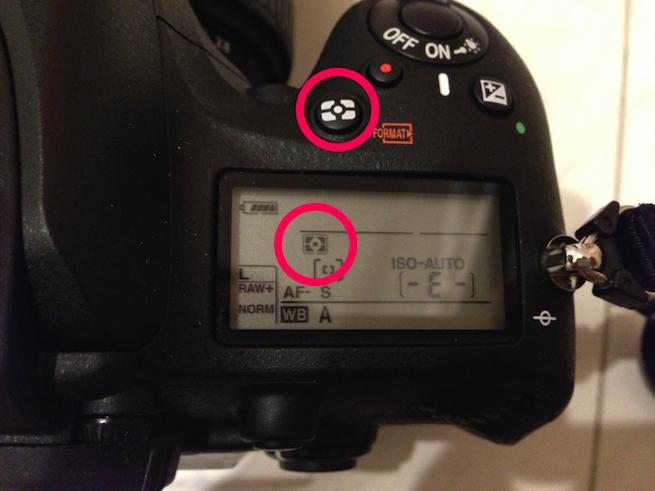Nikon D600の測光モード設定部分を示した写真