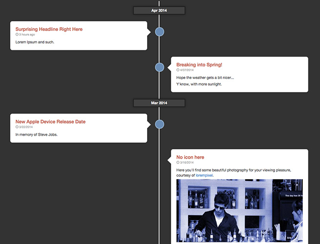 Dark Responsive Timeline with Bootstrap
