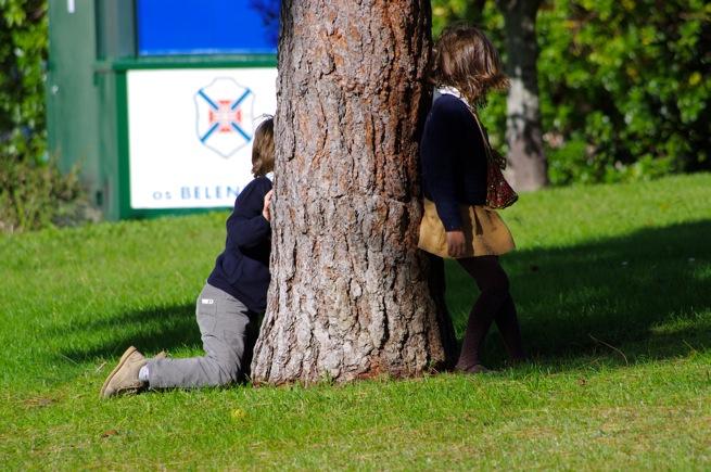 木越しに会話する男の子と女の子