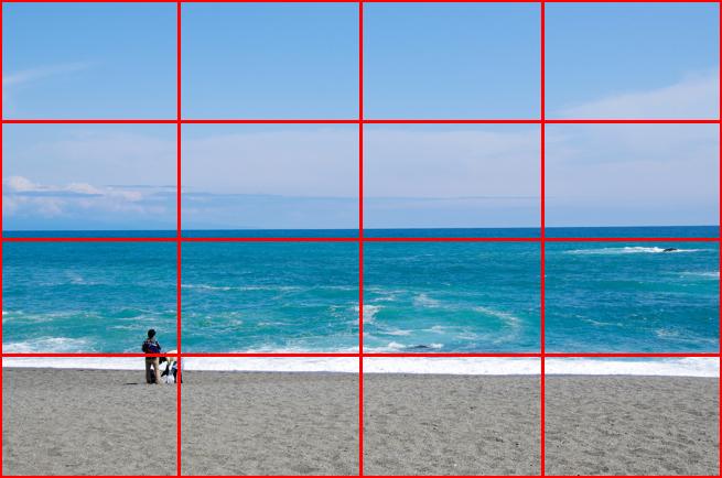 四分割法の例「海岸の画像」にガイドラインが引かれている画像