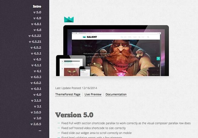 購入したテーマがバージョンアップされると、ThemeForestからメールが届いて知らせてくれる。