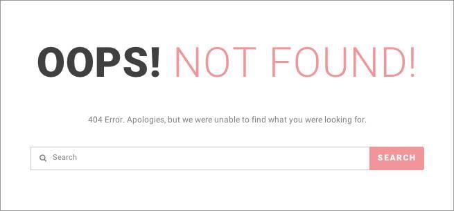404ページの文言は、テーマの設定画面からは変更できないことが多い。