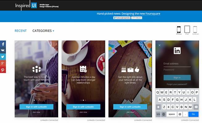 スマートフォンサイトのデザインギャラリー「InspiredUI」