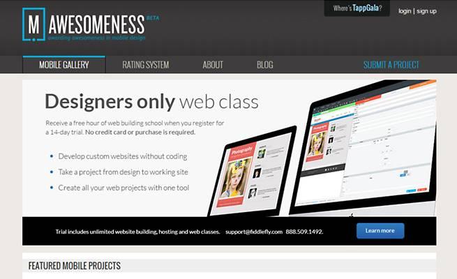 スマートフォンサイトのデザインギャラリー「AWESOMENESS」