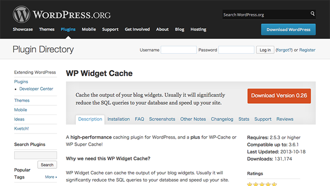 WordPress › WP Widget Cache « WordPress Plugins