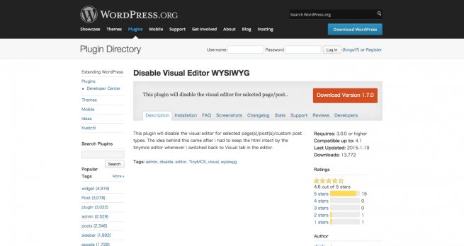 WordPress › Disable Visual Editor WYSIWYG « WordPress Plugins