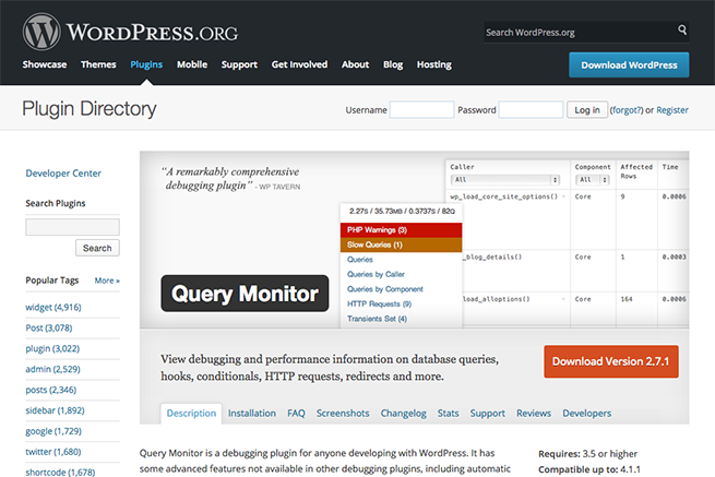 WordPress › Query Monitor « WordPress Plugins