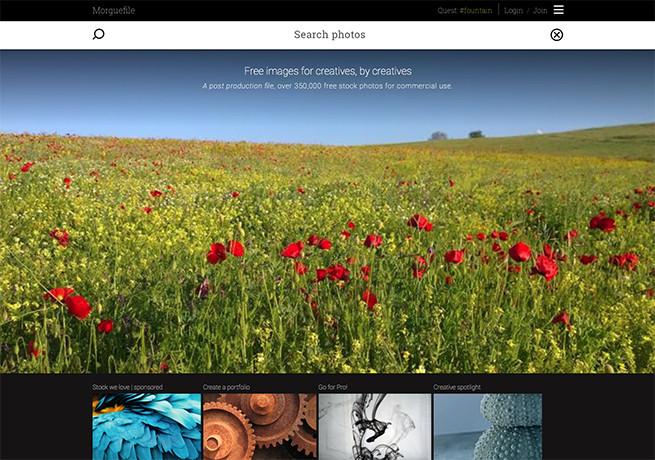 Morguefileのトップページの画像