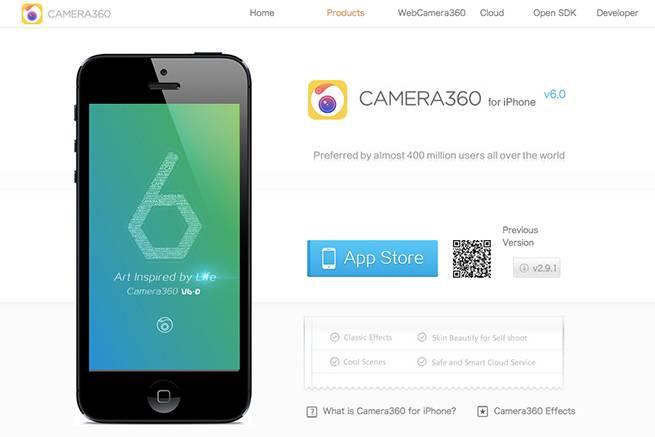カメラアプリ「Camera360」公式サイトのトップページ画像