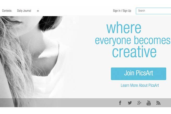カメラアプリ「PicsArt Photo Studio」公式サイトのトップページ画像