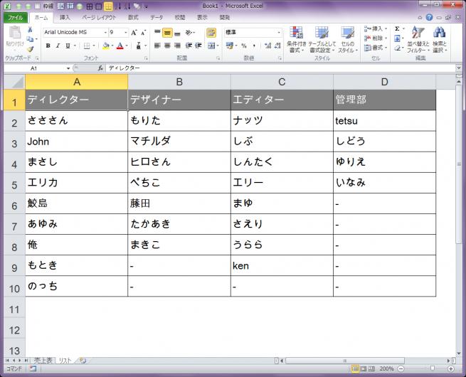 名前を記載したエクセルの表の画像