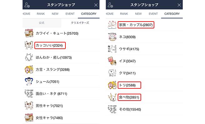 LINEスタンプショップのカテゴリ検索画面の画像
