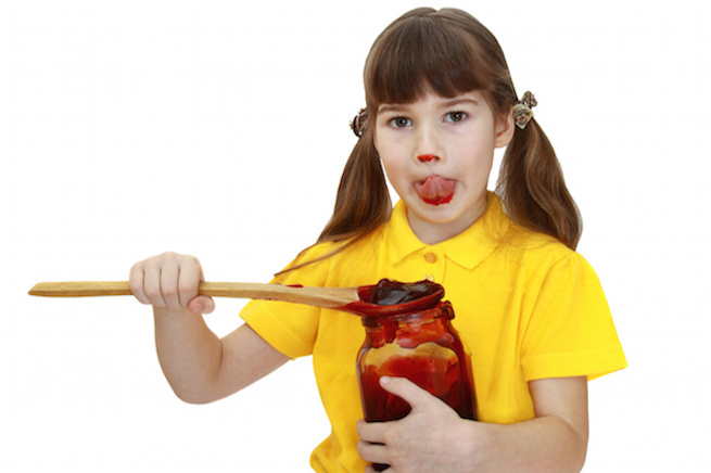 Girl with jar of jam