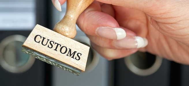 Customs - rubber stamp with hand