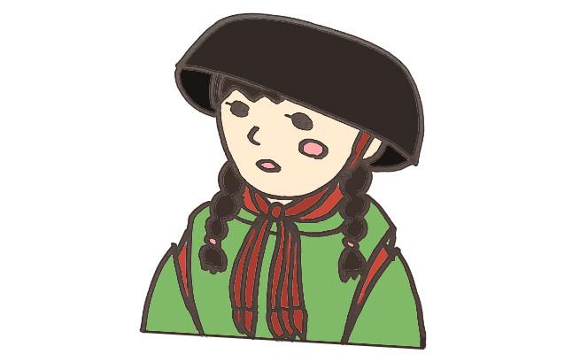 鍋冠祭での鍋をかぶった少女のイメージイラスト