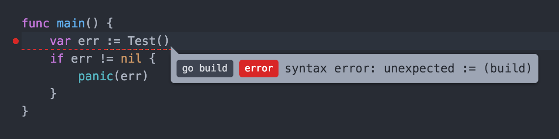 Golang Build Errors - Syntax Error