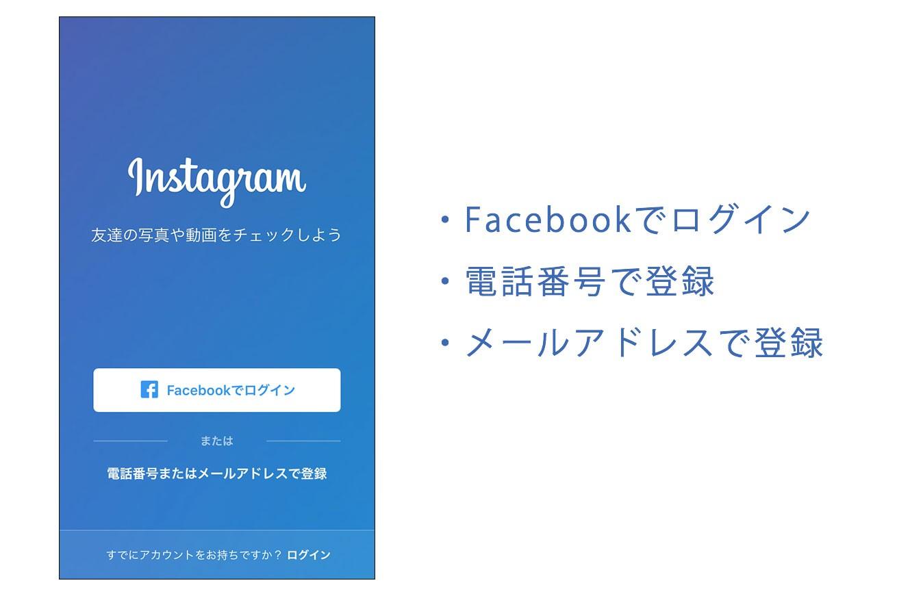 Instagramのログイン画面のページのスクリーンショット